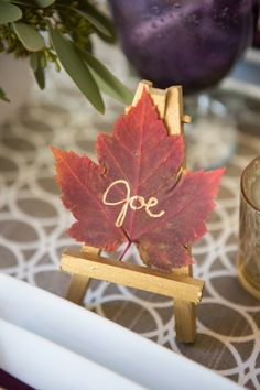 Fall wedding name tag. Love this idea for a fall wedding! Autumn Wedding, Wedding Fun, Wedding Stuff, Wedding Ideas, Wedding Name Tags, Chelsea Wedding, Hosting Thanksgiving, Red Heels, Orange Flowers