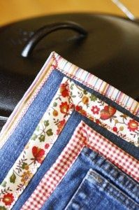 Hot pads from old jeans Teri want to make some long ones for cookie sheets and for 9x13's