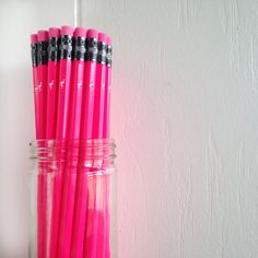 hot pink pencils with white foil flamingo  jar of by lettercdesign, $26.75