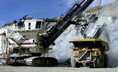Big power shovel and big dump truck