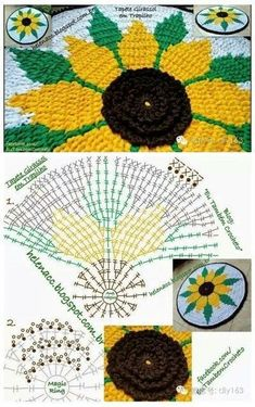 Belen Suarez Riesco's media content and analytics How to make poinsettia flower – Artofit Crochet sunflower doily / Lace / Yellow with black or brown / Tapestry Crochet Patterns, Crochet Motifs, Crochet Diagram, Doily Patterns, Crochet Doilies, Crochet Stitches, Crochet Mat, Crochet Home, Crochet Sunflower