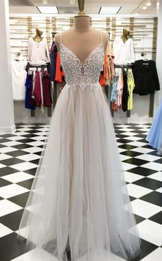 Champagne A line v neck tulle long prom dress, champagne evening dress