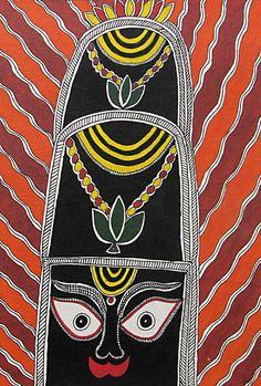 Shiva Linga as Raudra Shiva (Madhubani Folk Art on Paper - Unframed))