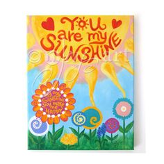 Order your one of a kind custom You Are My Sunsine painting from nJoyArt.  Add a name, pick your colors, sky is the limit!  Kids Decor   11x14 CUSTOM PAINTING   You Are My Sunshine  by nJoyArt  #baby #girl #nursery #art #wall #decor