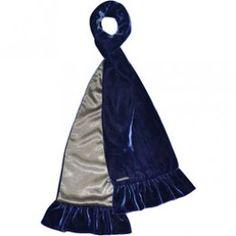 Velvet scarf with satin in blue