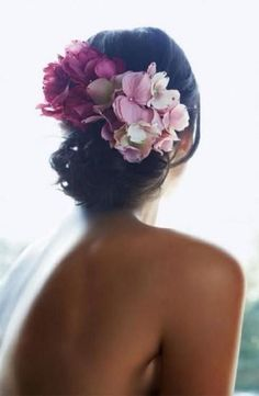 Flowers in a wedding updo