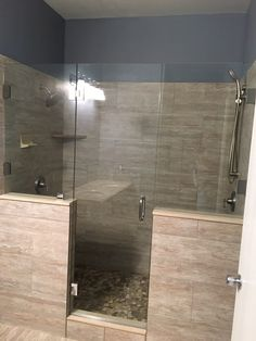 Frameless inline shower with door and two butters panels, top hinge is glass to glass, brushed nickel finish Nickel Finish, Brushed Nickel, Frameless Shower Enclosures, Inline, Minimalism, Bathtub, Hardware, Doors, Bathroom