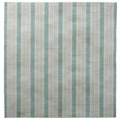 Geometric Vertical Aqua & White Linen Stripes Printed Napkin