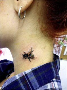 Bee Tattoo On Neck