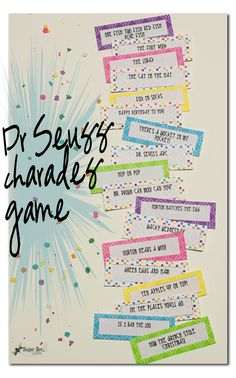 Enjoy a family game night by creating your own DIY Dr. Seuss Charades with your kids [FREE PRINTABLE]. Enjoy crafting together and then playing together. Dr Seuss Game, Dr Seuss Week, Dr Suess, Family Game Night, Family Games, Games For Kids, Group Games, Dr Seuss Birthday, Birthday Games