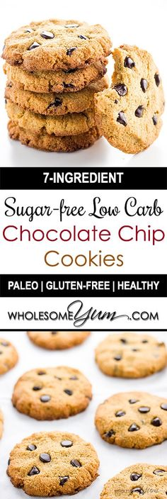 keto cookie recipes Sugar-free Low Carb Chocolate Chip Cookies (Paleo, Gluten-free) - This sugar-free, low carb chocolate chip cookies recipe will become your new favorite treat! They have only 7 ingredients, and are paleo & gluten-free, too. Sugar Free Desserts, Sugar Free Recipes, Low Carb Desserts, Gluten Free Desserts, Low Carb Recipes, Easy Recipes, Low Carb Chocolate Chip Cookie Recipe, Keto Chocolate Chips, Chocolate Bars