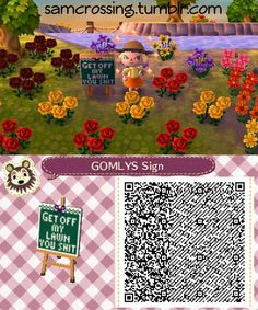 Oh my goodness XD My favorite sign ACNL qr code - Animal crossing - Animal Crossing 3ds, Animal Crossing Qr Codes Clothes, Post Animal, My Animal, Tumblr, Funny Flags, Acnl Paths, Motif Acnl, Ac New Leaf
