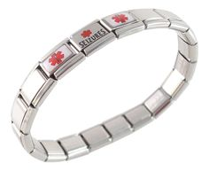 Seizures Medical Id Alert Italian Charm Bracelet. Medical charm is stainless steel and resin. We also sell the charm Lyrica. Stainless Steel Bracelet Stretches Over Your Wrist. FREE sizing of your bracelet. links can be taken out or more added. you will receive instructions on how to add or take out links.