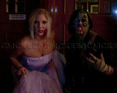 Zombie Prom Queen and Beetleguy. Zombie makeup for Halloween.