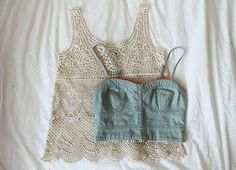 Bustier and a lace tank layered together creat a fun but still covered look.