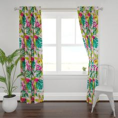Bold Graphic Floral Curtain Panel - April Showers by daniteal - Spring Rain Bright Flowers Custom Curtain Panel by Spoonflower Bird Curtains, Floral Curtains, Custom Curtains, Window Curtains, Curtains Living, Plymouth, Tropical Curtains, Rose Window, Antique Roses