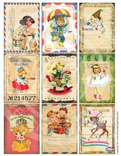 Vintage Children illustration Digital Sheet Images Sh059. $4.50, via Etsy.