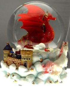 Red Dragon with White Unicorn and Castle in the Clouds Snow Globe