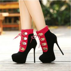 Stylish Sexy atmosphere-Ankle Boots  Ankle Boots (black,red) Ankle Boots from stylishplus.com