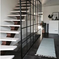 Metal wall seperating stairs from the corridor by Dominius AS Craft Stick Crafts, Easy Crafts, Flat Shapes, Easter Bunny Decorations, Metal Walls, Metal Doors, Classic White, Stairs, Shelves