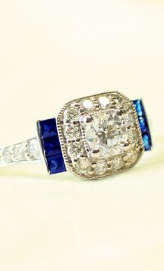 #wedding #engagement #ring #sapphire #diamond