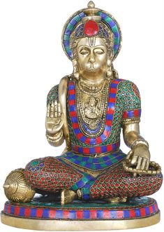 Bhakt Hanuman in Abhaya Mudra, Hindu Brass Statue With Inlay Work Hanuman Ji Wallpapers, Hanuman Images, Hindu Statues, Ganesh Statue, Jai Hanuman, Lord Mahadev, Brass Statues, Ganesha, Shiva