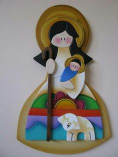 Divina Pastora en madera .- Tole Painting, Fabric Painting, Painting On Wood, Pintura Country, Arte Country, Christmas Nativity, Christmas Crafts, Christmas Ornaments, Decoupage