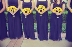 Shows purple dress with yellow sunflowers