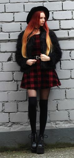 Choker with round hat, plaid dress, faux fur jacket, belt, tights, long socks & platforms by lizalaboheme