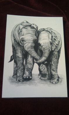 ACEO Drawing of Elephants on Etsy, $3.39