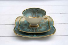Alka Bavaria Vintage 1950s Tea Cup and Saucer Bloom Shaped Trio Set Blue Turquoise and Gold Floral.