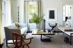 a neutral color palette and simple but elegant furniture pieces create a sophisticated conversation area {Stylish Washington DC Home - Neutral Home Palette in DC - ELLE DECOR}