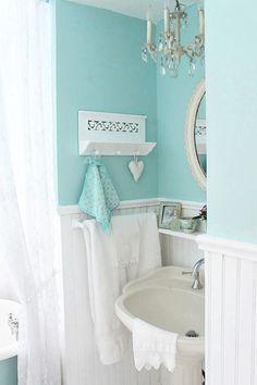 Turquoise bathroom, white bathroom, teal bathroom paint, ocean bathroom, do Turquoise Bathroom, Bathroom Colors, Bathroom Ideas, Bathroom Styling, Bathroom Inspo, Bathroom Designs, Bathroom Renovations, Shabby Chic Furniture, Shabby Chic Decor