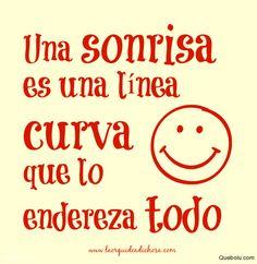 Una sonrisa es una línea curva que lo endereza todo. #sonrisa #lineacurva Crea tus memes en Quebolu.com #memes, #quebolu, #queboluFan, #crearMeme, #subirMeme, #hacerMeme, #memesGraciosos