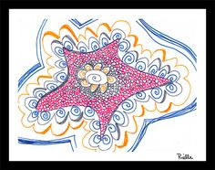 """Greeting Art Card w/envelope, """"Starwish,"""" by Rielle 5 1/2"""" x 4 1/4"""" on Etsy, $4.99"""