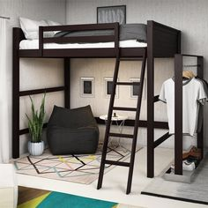 Shop for Avenue Greene Cato Full Loft Bed. Get free delivery at Overstock - Your Online Furniture Outlet Store! Get in rewards with Club O! Loft Bunk Beds, Bunk Beds With Stairs, Kids Bunk Beds, Cool Loft Beds, Room Ideas Bedroom, Bedroom Loft, Bedroom Decor, Gamer Bedroom, Attic Bedrooms