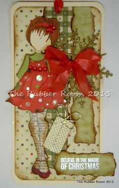 My first Julie Nutting Prima Doll tag done with sei and Bo Bunny Christmas papers