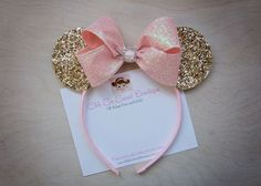 Fancy Gold and Pink Minnie Mouse Ears - Girls Minnie Ears - Minnie Mouse Birthday Theme Mickey, Minnie Mouse Theme, Minnie Mouse Baby Shower, Girl 2nd Birthday, Minnie Birthday, 1st Birthday Parties, Glitter Birthday, Minnie Mouse Rosa, Pink Minnie