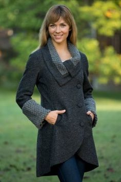 Women's Devlin Handmade Alpaca-Blend Wool Coat, CHARCOAL, Size LARGE (12-14) Overland Sheepskin Co. $449.00