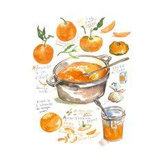 Recette illustrée, La confiture d'oranges, Affiche cuisine, Aquarelle, Poster orange, Décoration cuisine, Marmelade d'orange, Peinture fruit