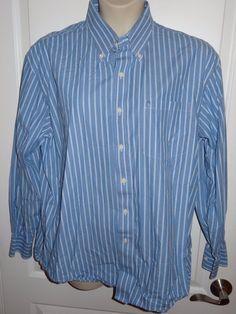 ed033f8e IZOD Luxury Sport Button Dwn Long Sleeve Men's Shirt Blue Stripe Sz XLarge  XL KR