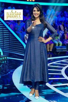 Cute Nyla Usha in blue kurti Salwar Designs, Simple Kurti Designs, Kurta Designs Women, Kurti Designs Party Wear, Latest Kurti Designs, Stylish Dresses, Simple Dresses, Fashion Dresses, Nice Dresses