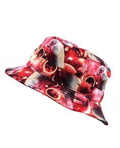 b96ea565300 NYfashion101 Fashionable Unisex Satin Lined Printed Pattern Cotton Bucket  Hat (Pink Galaxy 2103)