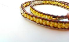Leather Wrap Bracelet with Toho beads in Gold £17.00