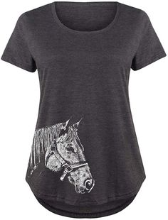 Heather Charcoal Side Profile Horse Scoop Neck Tee - Plus #affiliate