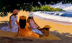 Herb Kane - Painting Image Catalog (you can purchase right to reproduce from a beautiful selection of island-themed images) - People Places Group- Hamoa Beach Tahiti, Vintage Artwork, Vintage Posters, Hawaii Painting, Artistic Visions, Hawaiian Art, Hawaiian Tribal, Polynesian Art, Vintage Hawaii