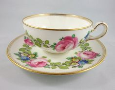 Stunning Floral Handpainted & Signed A Taylor Mintons Tea Cup and Saucer Set