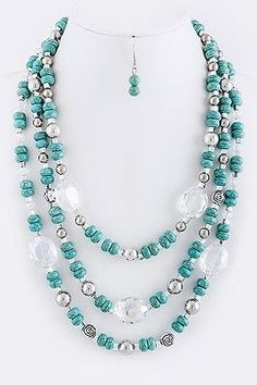 3 Strand Crystal Stone Turquoise Green Mint Silver Layered Necklace Earring Set