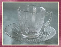 Jeanette Depression Glass Demitasse Cup and Saucer Iris and Herringbone