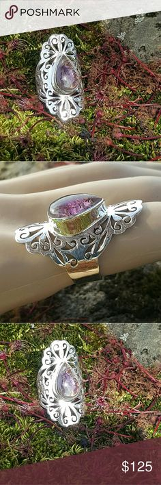"""NEW! Cacoxenite super seven ring Stunning and powerful,  the """"Melody"""" stone, cacoxenite super seven set in a filigree setting of 925 sterling silver,  size 7 NWOT Robin's Nest Jewels Jewelry Rings"""